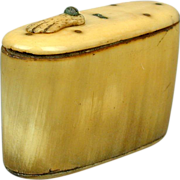 Victorian 19th Century Ox Horn Snuff Box w/ Hand Slide Lid