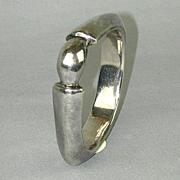 Sterling Silver Bracelet Bangle w/ Space-Age Angle