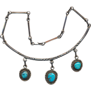 Vintage Navajo Turquoise Sterling Silver Necklace - Three Pendants