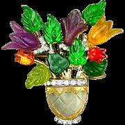 Vintage Lucite Fruit Salad Flower Vase Pin Brooch w/ Rhinestones
