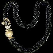 Enamel Rhinestone Cat Pendant / Pin on Long Black Bead Necklace
