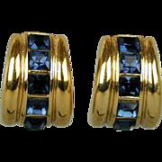 Bold Broadway 80s YSL Yves Saint Laurent Clip Earrings Faux Sapphires