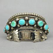 Vintage Turquoise Sterling Silver Navajo Watch Cuff Bracelet JAMESON LEE