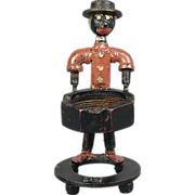 SOLD Old Folk Art Bolt Man Industrial Black Americana Ashtray Figurine