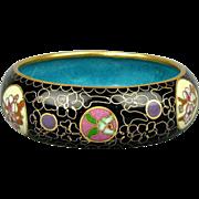 Vintage Chinese Black Enamel Cloisonne Bangle Bracelet Floral Insets