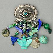 Native American Sterling Silver Conch Pin w/ Multi Fetish Dangles