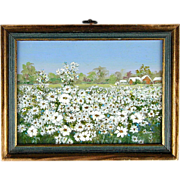 Vintage c1930s Oil Painting Field of Daisies Daisy Flowers...Everywhere