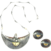 Modernist Keum Boo Sterling Silver 24K Gold Necklace - Earrings Set
