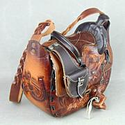 Vintage Western Saddle Hand-Tooled Leather Handbag Shoulder Bag Horses