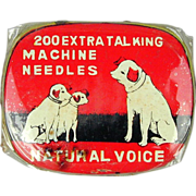 1930s ~ Natural Voice ~ Talking Machine Phonograph Needles Tin Litho Box Nipper Dogs