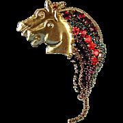 Vintage Wild Horses Pin w/ Rhinestone Chain Manes