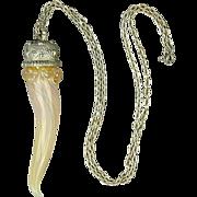 Vintage Italian Art Glass Horn Perfume Bottle Pendant Necklace