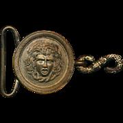 Antique Victorian MEDUSA Metal Belt Buckle - Snakes