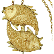 Vintage RAZZA Zodiac Two Fish Pendant Necklace w/ Orig. Tag
