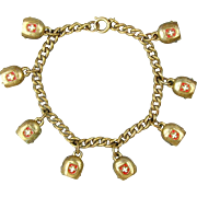 Vintage Charm Bracelet White Cross Brass Bells Swiss Souvenir