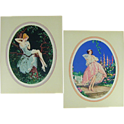 Pair Marcel Le Boulte Art Déco Litho Prints Signed - Naughty 1920s Pin-Up Girls