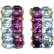 Kramer of N.Y. Bold Two-Color Clip Rhinestone Earrings