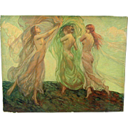 SOLD 1920s Art Deco Litho Print Louis Frederick Bernecker Dancing Nymphs