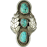 Unique Old Navajo Sterling Silver Turquoise Ring 2-Inch High Handmade Beauty