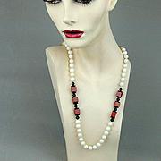 Vintage Necklace of Natural Stones - White Coral - Black Onyx - Russet Gem