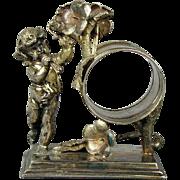 Victorian Silverplate Angel Cherub Napkin Ring c1880s Simpson Hall Miller