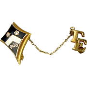 Vintage Kappa Alpha Theta 10K Gold Diamond Sorority Frat Pin