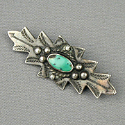 Nice Old Navajo Sterling Silver Turquoise Pin w/ Arrows