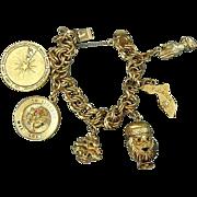 Chunky 1950s ELCO Gold-Filled Charm Bracelet - Mom Santa Florida Zodiac Wheel