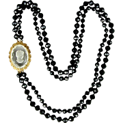 Art Deco Cut Crystal Cameo Pin - Necklace Clasp 2 Long Strands Jet Black Beads