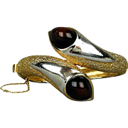 Signed Panetta Crossover Hinge Bracelet Chunky Gold-Tone w/ Lucite