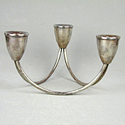 Modernist Duchin Creation Sterling Silver 3 Arm Candle Holder