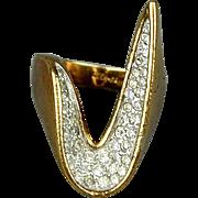 Vintage Panetta Sterling Silver Rhinestones Boomerang Ring