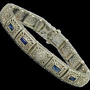 1920s Art Deco 10K Gold Bracelet w/ Diamond - Faux Sapphires