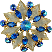 Gorgeous 1950s Rhinestone Pin Unique Design & Colors