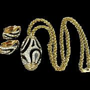 Vintage Enamel & Crystal Rhinestone Pendant Necklace w/ Matching Earrings