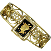 Art Deco Gold-Filled Simmons Venetian Bracelet w/ Glass Intaglio Cameo