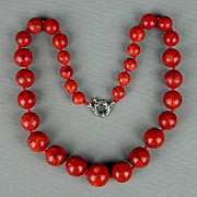 Vintage Big Fat Apple Coral Bead Necklace - Chunky Beads Yummy Color