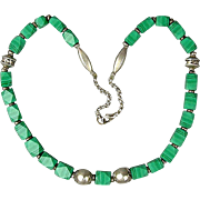 SALE PENDING Native American Malachite Bead Sterling Silver Necklace - Rare Facets