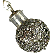 Vintage Sterling Silver Persian Snuff Bottle Pendant