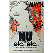 Signed 1960s French Advertising Art Poster - Nudie Showgirl Review Illustrated