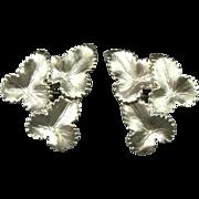 Vintage Elsa Schiaparelli Triple Leaf Clip Earrings