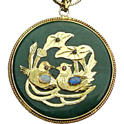 Large Jade Chinese Pendant Necklace - Birds & Opals - Good Luck