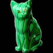 Vintage Cat Figurine - Solid Green Malachite
