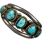 Mens Navajo Sterling Silver Turquoise Cuff Bracelet