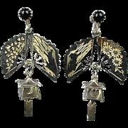 SOLD Old Sterling Silver Asian Earrings Etched Fans w/ Lantern Dangle