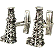 Vintage Sterling Silver Figural Cufflinks - Oilwell Rig Derrick Oil Well