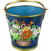 SOLD Vintage Chinese Cloisonne Enamel Brass Pail Bucket Gorgeous Flowers