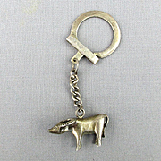 Vintage Asian Sterling Silver Key Chain Ring Water Buffalo Fob