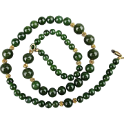 Nice Vintage Jade Bead Necklace w/ Gold-Filled Beads