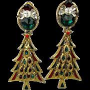 Vintage Big Jeweled Rhinestone Christmas Tree Earrings